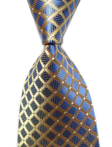 how to tie a tie - blue and gold`